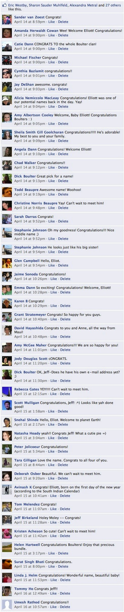 birth announcement comments